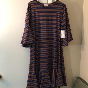 LuLaRoe Dresses - LLR Maurine dress mustard grey blue purple  large